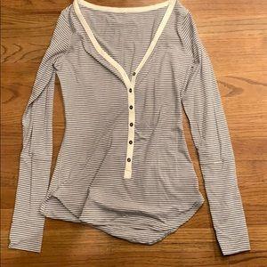 Lululemon Striped V-Neck Longsleeve Shirt, Size: 6